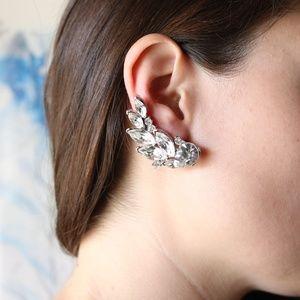 VINTAGE rhinestone crawler earrings